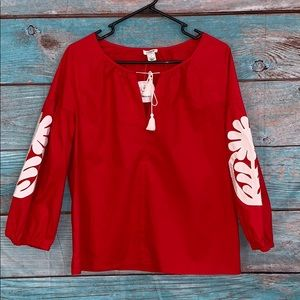 J Crew NWT Red Embroidered Shirt Blouse Small